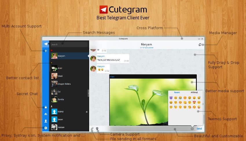 Cutegram 2 7 0 is released, Install on Ubuntu / Linux Mint