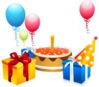 Dibujo alusivo a un cumpleaños con torta, regalos y globos