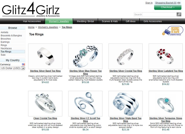 Glitz4girls Toe Rings