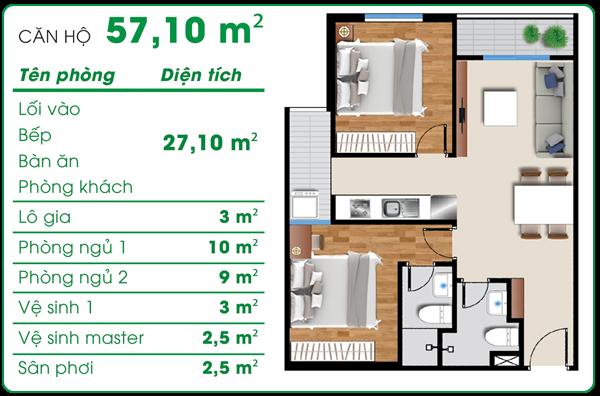 Thiết kế căn hộ asa light 45m2