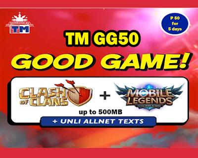 TM GG50 : COC + Mobile Legends + ROS + Unli All Net Texts
