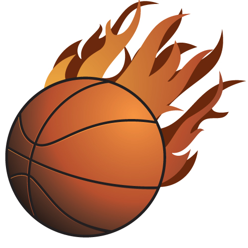 Basketball on fire drawing