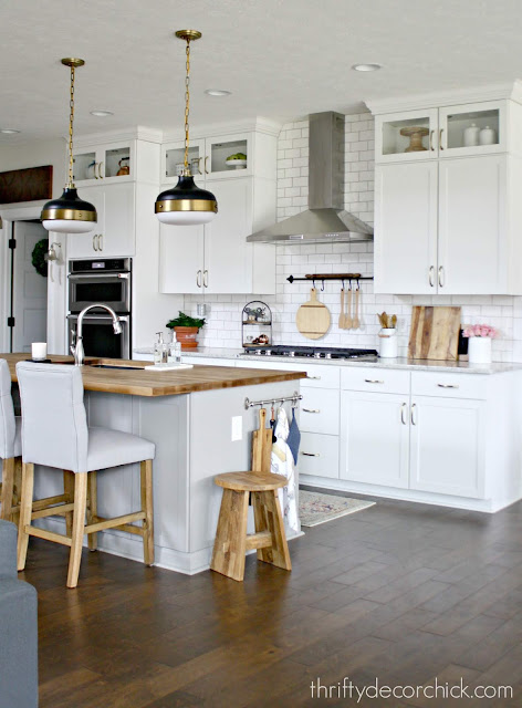 Bright kitchen with wood accents