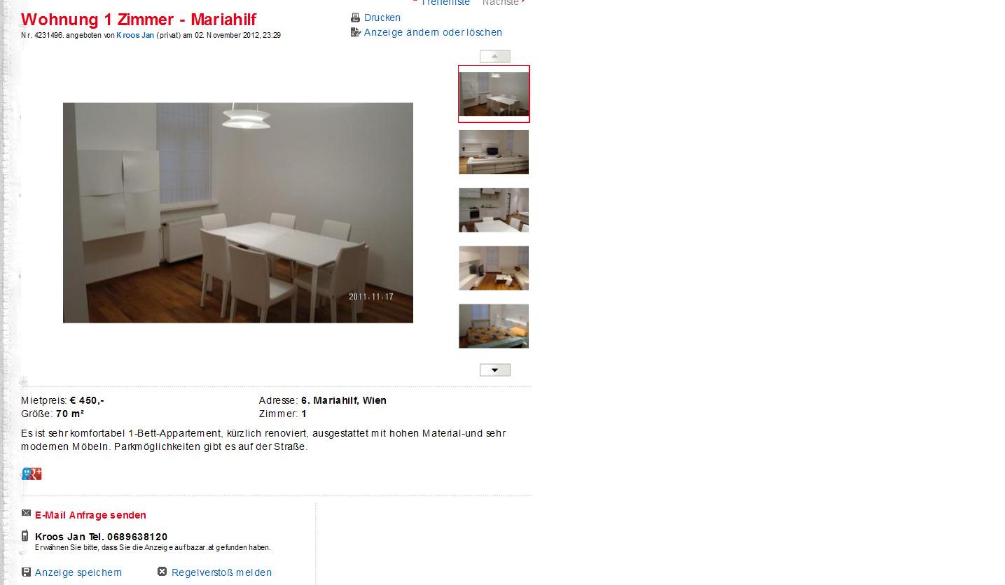 alias jan kroos wohnung 1 zimmer mariahilf stumpergasse 32 1060. Black Bedroom Furniture Sets. Home Design Ideas