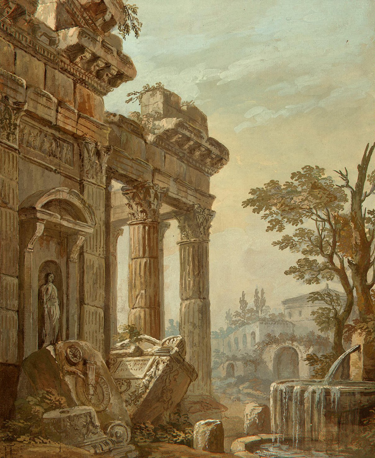 Architectural fantasy charles louis clerisseau endless for Printing architectural drawings