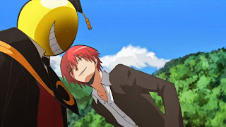 Koro-sensei i Karma Akabane, jeden z uczniów który dochodzi do klasy 3-E w trakcie anime Ansatsu Kyoushitsu