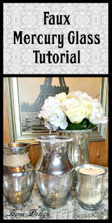 DIY step by step tutorial how to upcycle dollar store glass with a mercury glass finish.