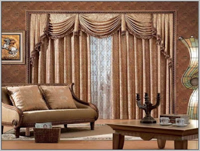 living room double hung window curtains in dark brown color
