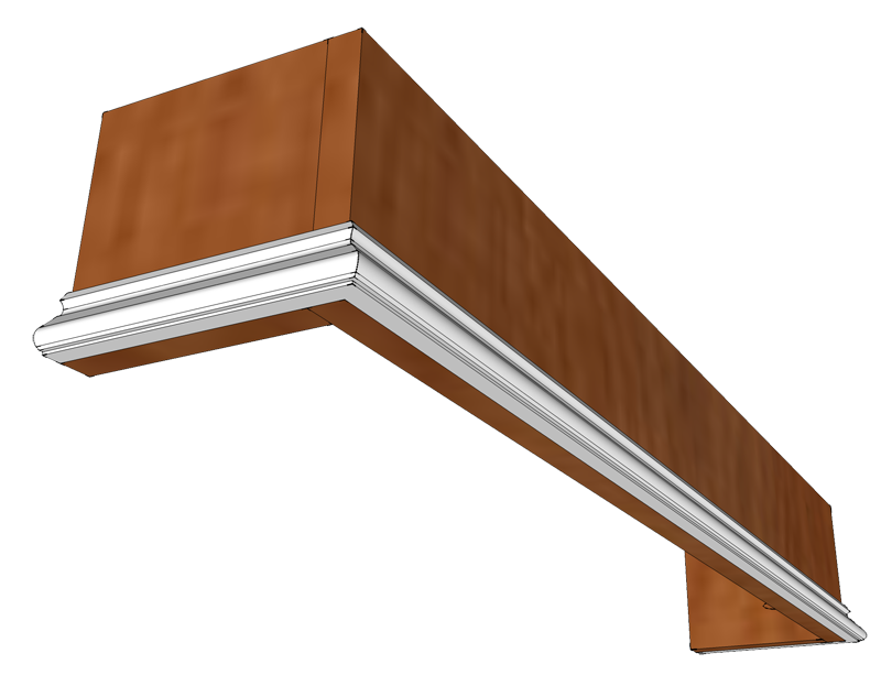 weu0027ve chosen a small decorative base cap molding to apply along the bottom of the cornice cut the molding at 45 degree angles in your miter box or power