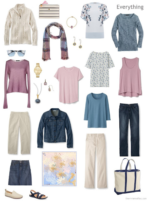 a travel capsule wardrobe in denim, khaki, soft mauve pink and dark pastel blue