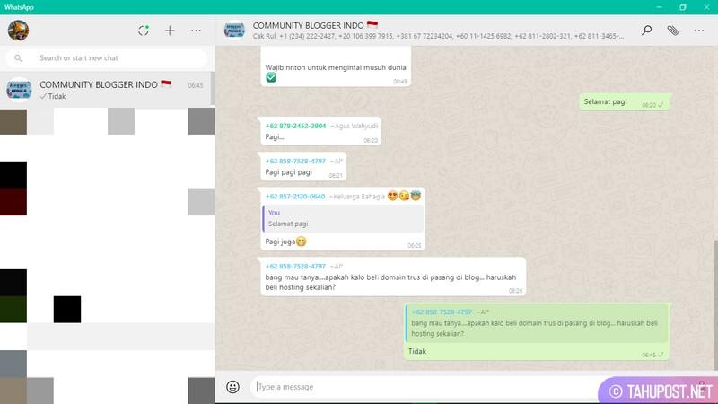 Tampilan Antar Muka WhatsApp Desktop