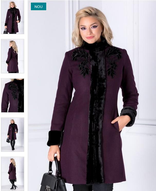 Palton femei din lana mov cu blanita si broderie elegant de iarna