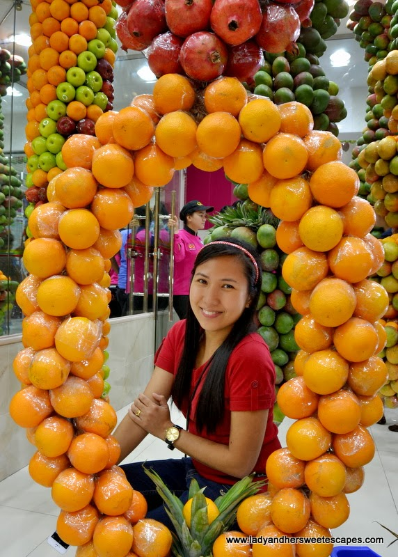 orange fruit wreath at Juice World Dubai