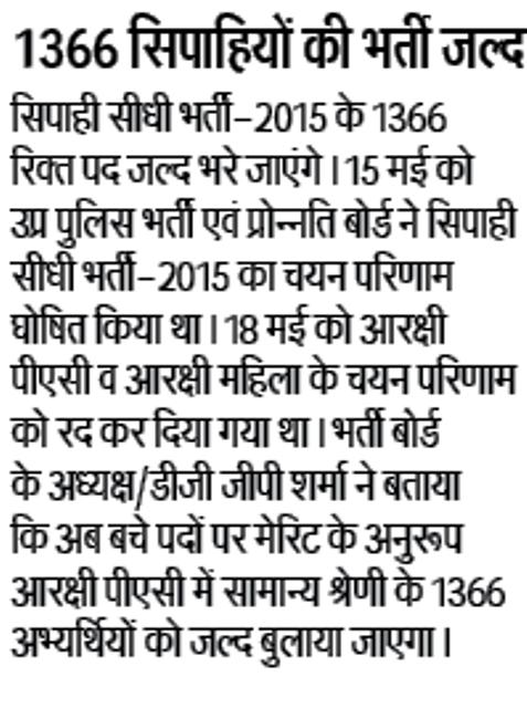 सिपाही सीधी भर्ती-2015 के तहत 1366 सिपाहियों की भर्ती जल्द