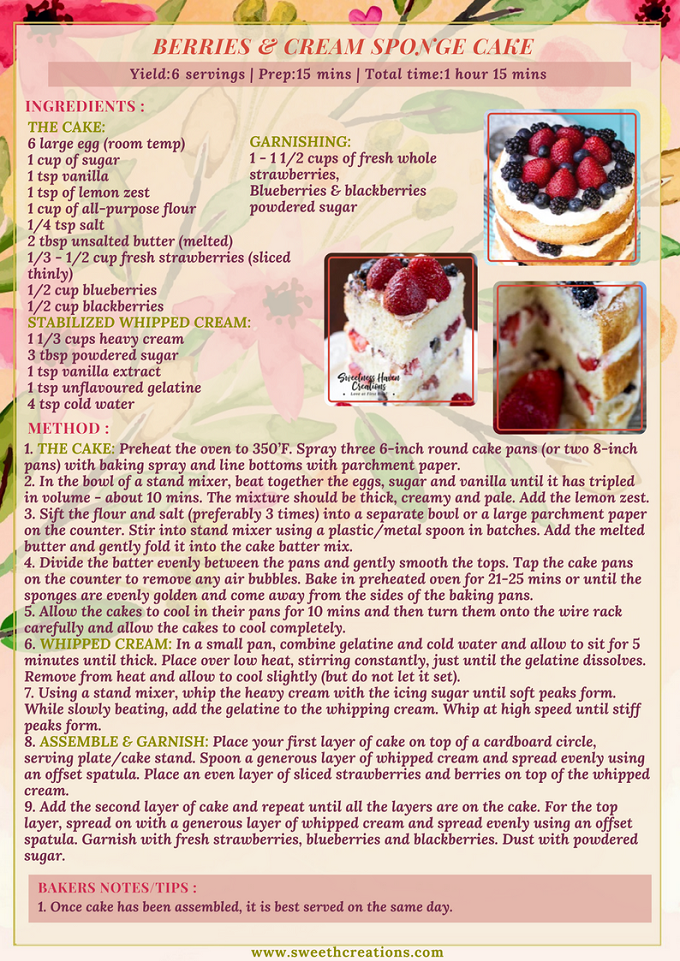 BERRIES & CREAM SPONGE CAKE RECIPE
