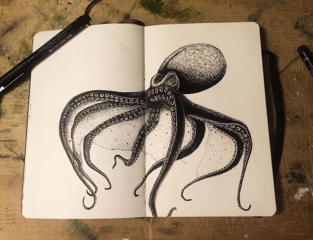 11-Octopus-mrc_artworks-Sketching-Inspirations-on-a-Moleskine-Notebook-www-designstack-co