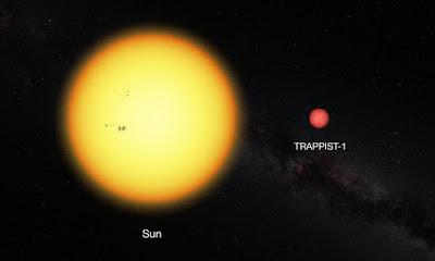 Trappist-1 paragonata al Sole