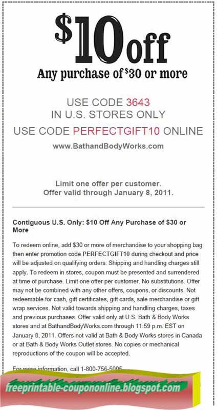 Bath and body works printable coupon feb 2018