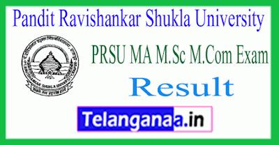 Pandit Ravishankar Shukla University MA M.Sc M.Com Exam Result