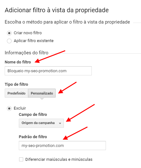 Google Analytics - Bloquear my-seo-promotion.com