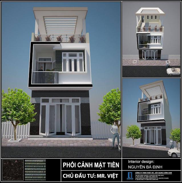 Thiết kế nhà phố anh Việt ở Biên Hoà - Đồng Nai