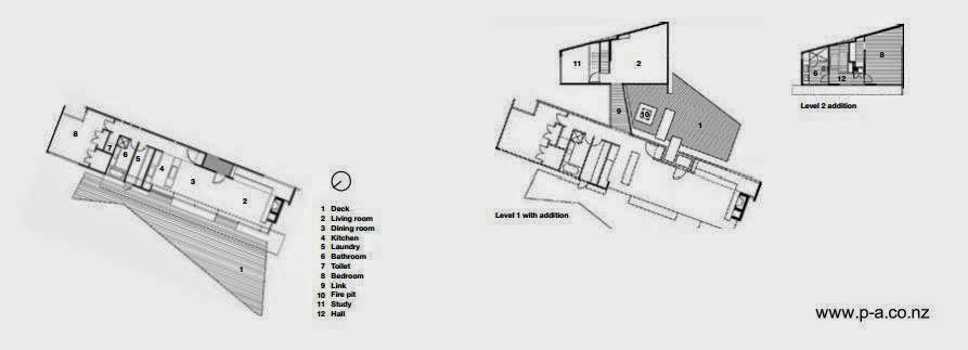 Planos arquitectónicos de plantas de la residencia en Nueva Zelanda