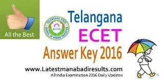 Telangana ECET Answer Key 2016, TS ECET 2016 Key Eenadu Sakshi,TS ECET Preliminary Key 2016