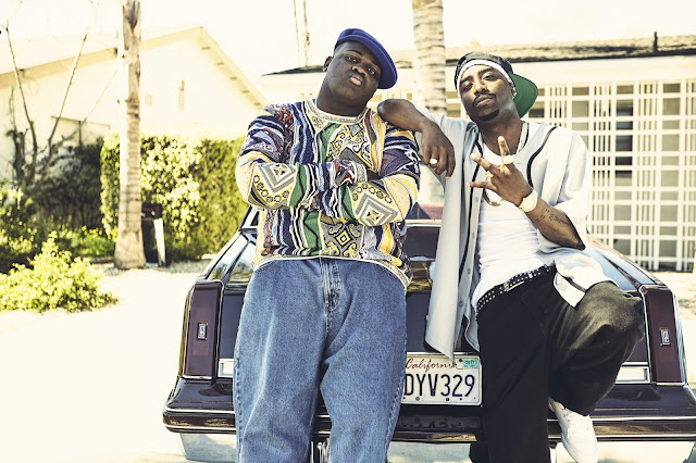 "Marcc Rose and  Wavyy Jonez as Tupac Shakur and The Notorious  B.I.G.  in  the   TV crime-drama series ""Unsolved: The Murders of Tupac and The Notorious B.I.G.,"""