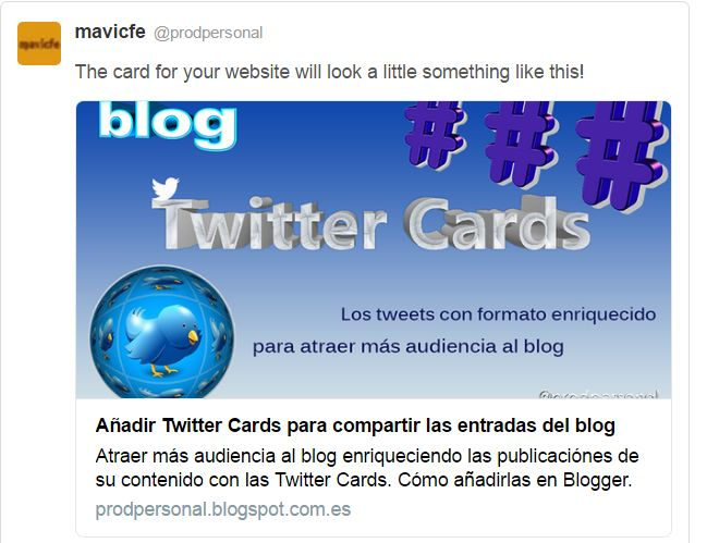 Prueba de Twitter Card en Card Validator