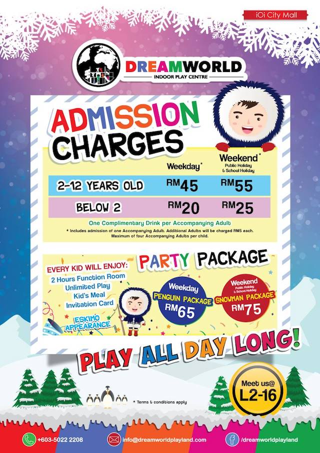 Admission Charges for DreamWorld Indoor Playland @ IOI City Mall, Putrajaya