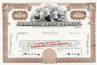 stock certificate from the Hammond Organ Company with stamp 'name changed to Hammond Corporation'
