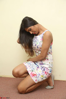 Nishi Ganda stunning cute in Flower Print short dress at Tick Tack Movie Press Meet March 2017 089.JPG