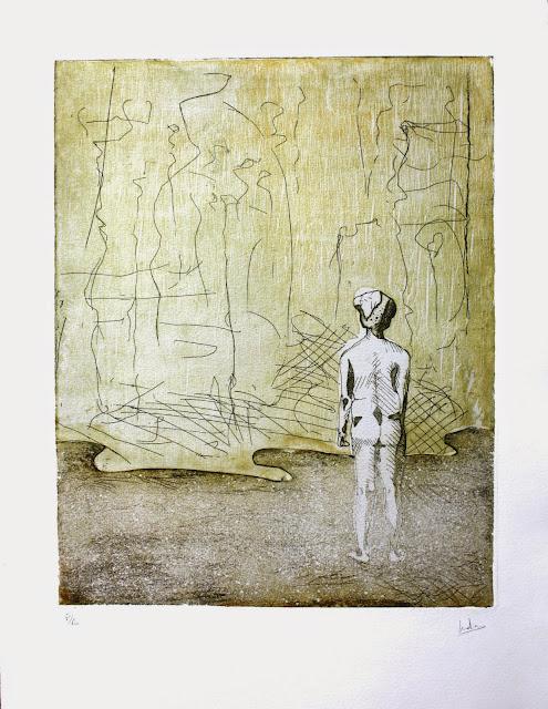 Mi vista sólo alcanza la hierba, xilografía y aguafuerte, obra realizada por Indra Ruiz - Yoviendo Árboles