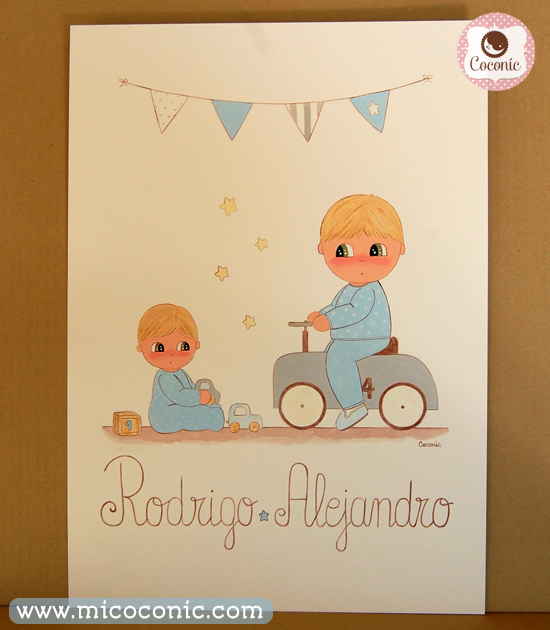 cuadro infantil hermanos coche banderines celeste lamina bebes ninos