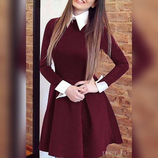 Μακρυμάνικο μίνι μπορντό φόρεμα RUBINA BORDO