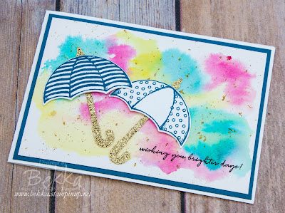 Weather Together Umbrellas To Send Cheering Wishes - with a quick tutorial on how to make the background.