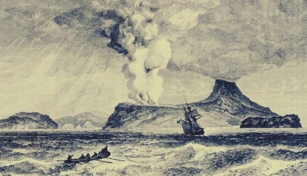 Gambar ilustrsi erupsi gunung Krakatau zaman purba