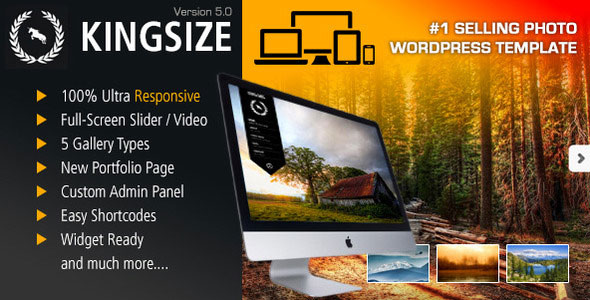 Free Download latest version of King Size V5.0.9 Fullscreen Background WordPress Theme