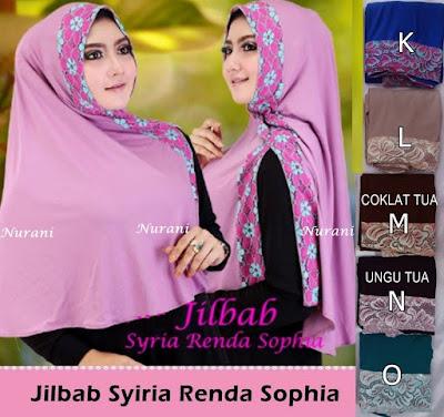 Model Jilbab Terbaru Syiria renda Belah Samping