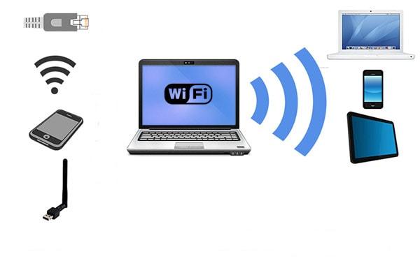 notebook distribuindo internet para dispositivos
