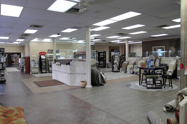 Kermans vast showroom holds a wide selection of flooring.