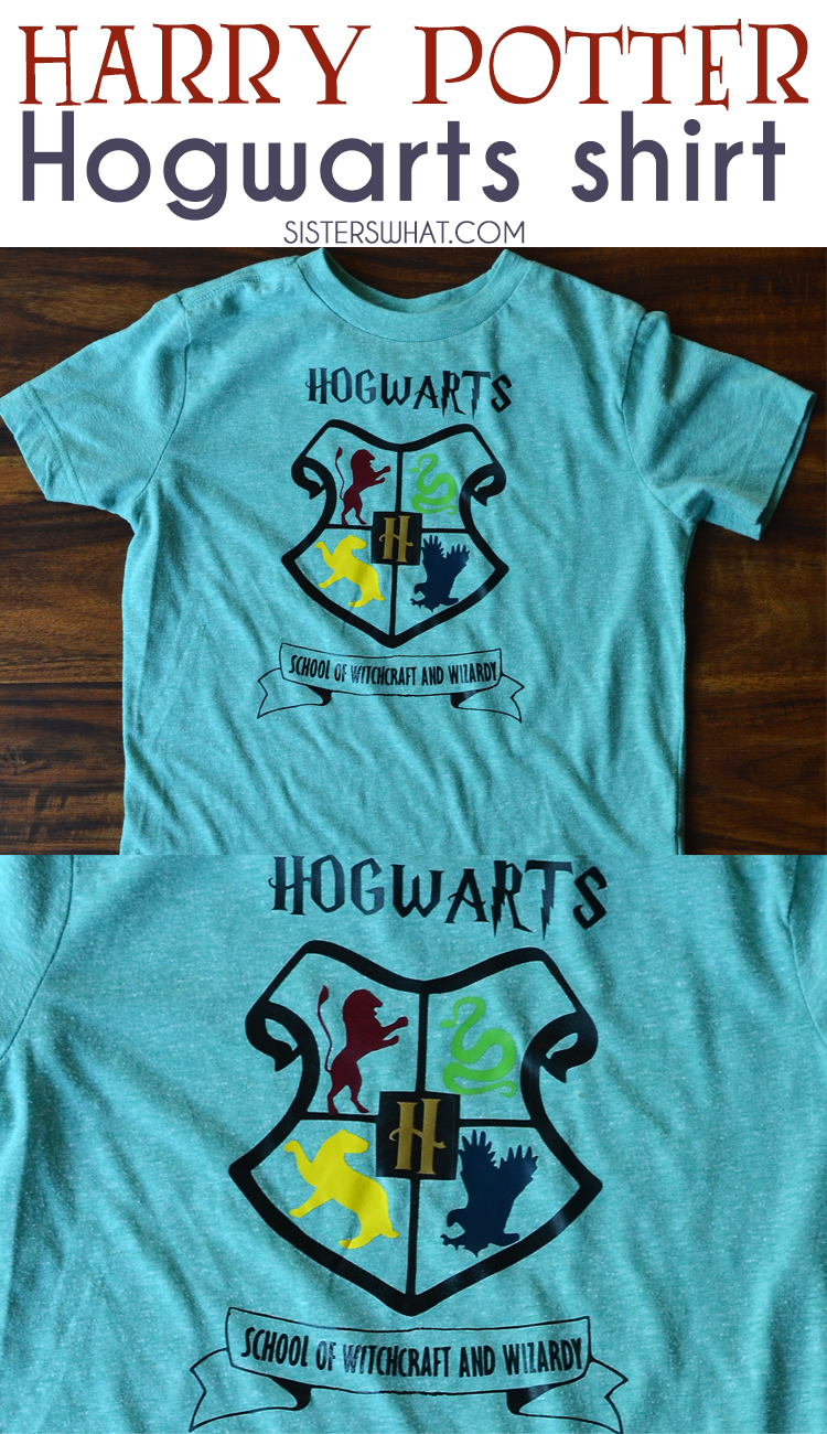 A fun DIY Hogwarts School of Witchcraft and wizardy shirt using heat transfer vinyl!