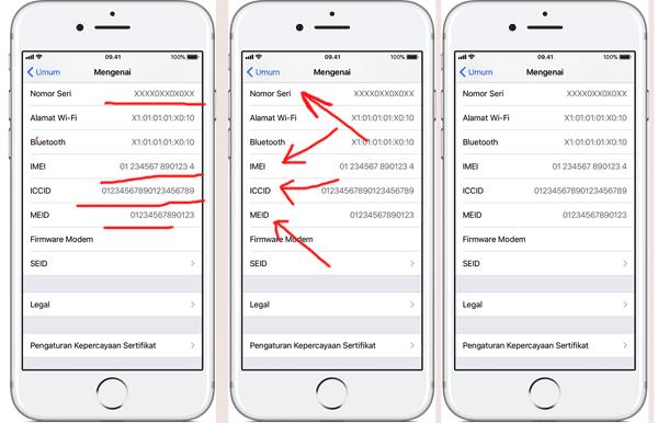 tampilan nomor seri, kode imei pada iphone pada menu pengaturan