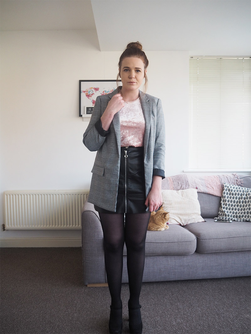 Leather A Line High Waisted Skirt velvet s t shirt grey checked checkered jacket blazer outfit post