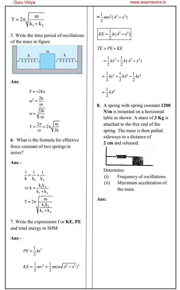 Physics Formulas For Class 11 And 12 Pdf
