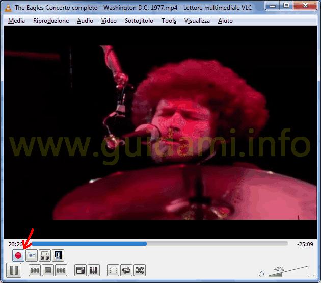 VLC Media Player e tasto Registra