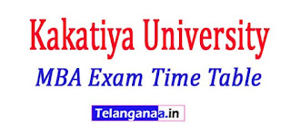 KU Kakatiya University MBA 1st Year 1st Sem Time Table 2017