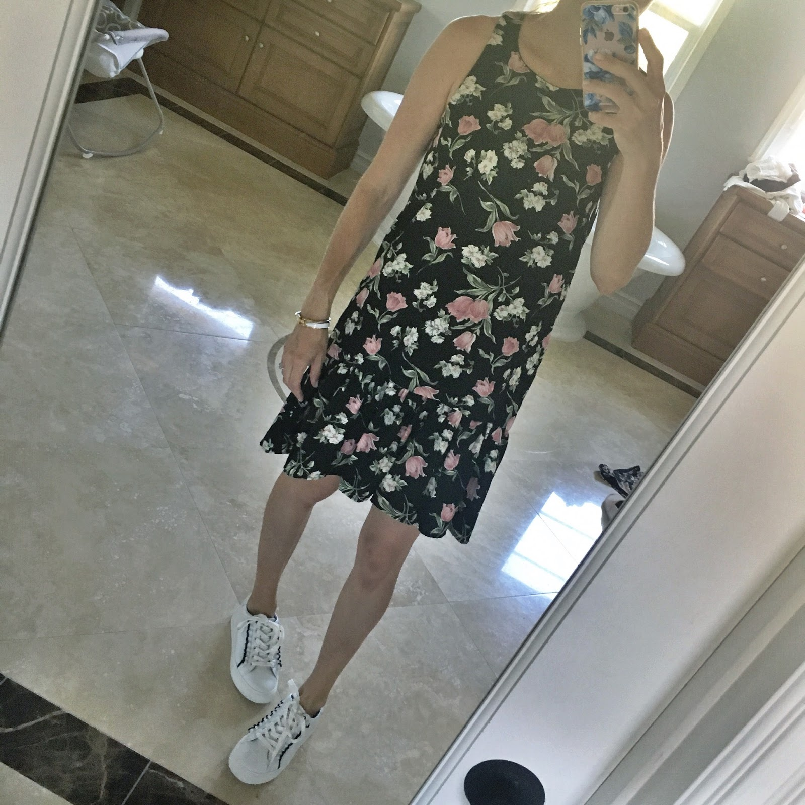 sneakers and dress outfit