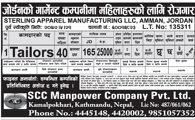 JOBS IN JORDAN FOR NEPALI, SALARY 25000