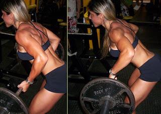 Rutina mujeres gym remo barra de pie inclinado